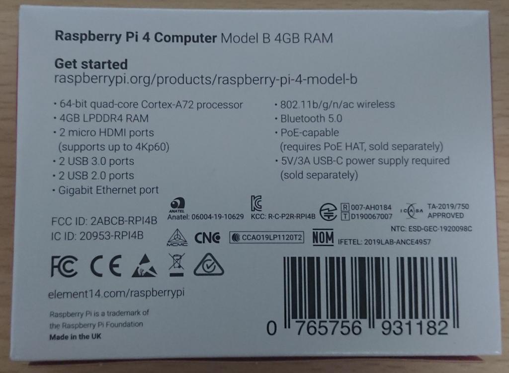 Raspberry Pi4 Model B 4GB RAM element14箱 裏