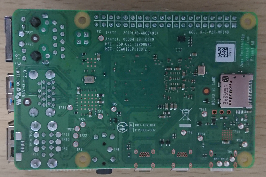Raspberry Pi4 Model B 4GB RAM element14 裏