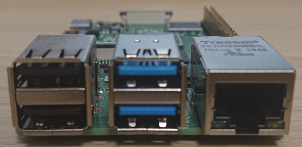 Raspberry Pi4 Model B 4GB RAM element14版 USB,LAN側